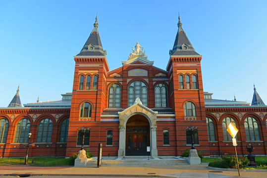 Arts and Industries Building is the masterpiece of Victorian architecture. This building belongs to Smithsonian museums, Washington, District of Columbia DC, USA.