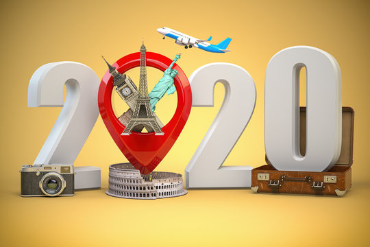 2020 Happy new year. Number 2020 and pin with most popular landmarks of the world. New year celebration in London, Paris, Rome or New York.