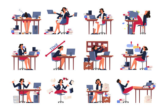 Deadline concept set. Idea of many work and few time. Employee in a hurry.