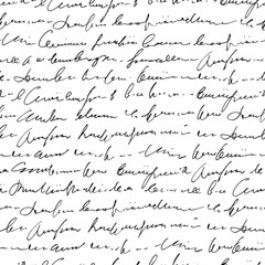 In de dag Kunstmatig Handwritten abstract text seamless pattern, vector monochrome script background