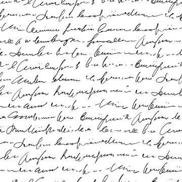 Handwritten abstract text seamless pattern, vector monochrome script background