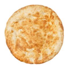 Fresh pita bread close up isolated on white background