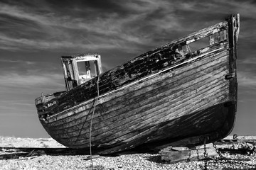 Wall Murals Ship abandoned old fishing boat on the beach