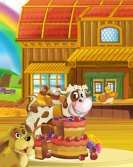 Papiers peints Ferme cartoon scene with happy and cheerful cow on farm ranch illustration for children
