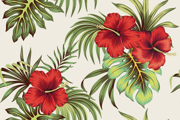Tropical Hawaiian vintage red hibiscus floral green leaves seamless pattern white background. Exotic jungle wallpaper.
