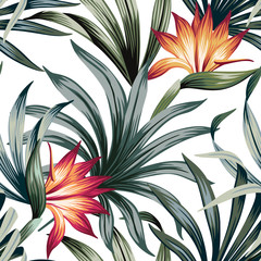 Tropical vintage strelitzia floral palm leaves seamless pattern white background. Exotic jungle wallpaper.