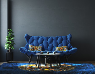 Home interior with furniture in trendy blue color, Classic Blue color of the Year 2020,  3d render