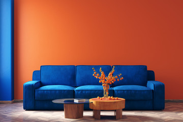 Fotomurais - Modern home interior in trendy colors of the Year 2020,  3d render
