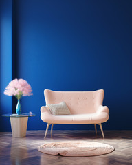 Concept Classic Blue color of the Year 2020 in interior, 3d render