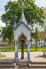 Friedrichstadt – Waterpump at the historic market square; Germany