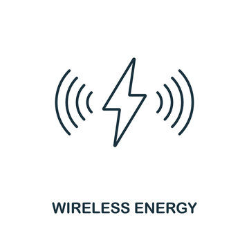 Wireless Energy line icon. Thin style element from future technology collection. Outline Wireless Energy icon for web design, apps and software