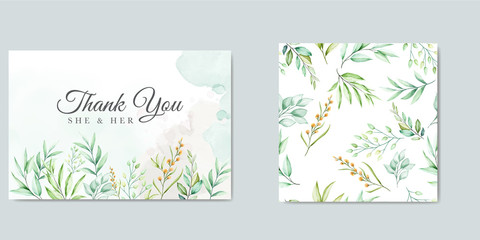 wedding invitation design with green watercolor leaves Wall mural