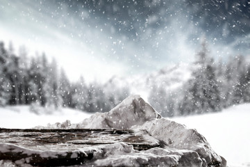 Winter background of snow and free space for your decoration.