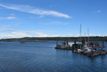 boats at the pier and wharf at Fanny Bay, Vancouver Island BC Canada
