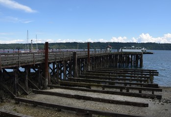 pier and wharf at Fanny Bay, Vancouver Island BC Canada