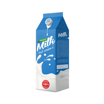 Full cream organic farm Milk packaging carton design mock-up. Beverage product pure vector illustration for ads and product desing