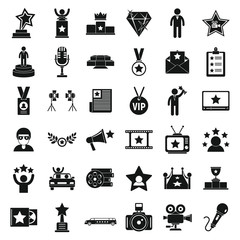 Celebrity icons set. Simple set of celebrity vector icons for web design on white background