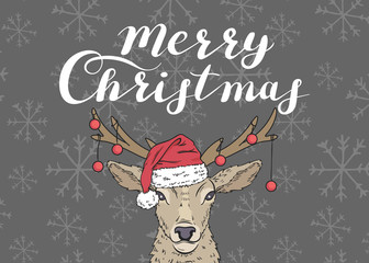 Merry Christmas. Poster with a deer in a Santa's hat and red balls