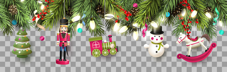 Christmas border with traditional wooden toys and branches. Wall mural