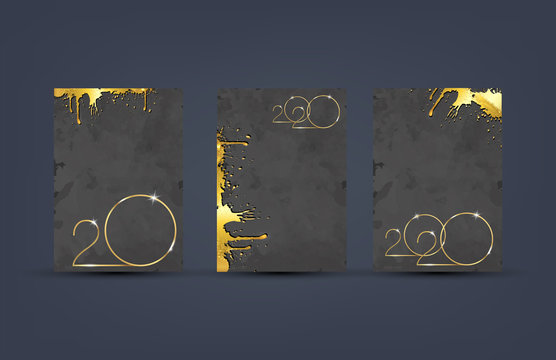 set cards 2020 Happy New Year gold texture, golden luxury black grey modern background, elements for calendar and greetings card or Christmas themed winter holiday invitations with grunge decorations