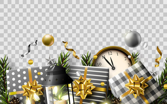 Christmas header with traditional decorations, gift boxes and clocks on  transparent background.