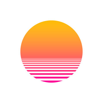 Isolated sunset gradient on white background. Vector illustration of sun in retro 80s and 90s style. EPS 10