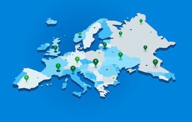 3d europe map with gps pins - vector Fototapete