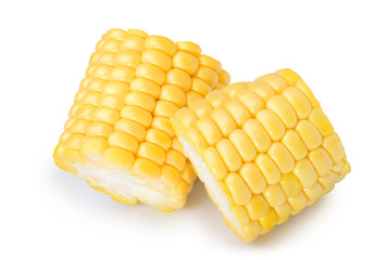 parts of corn with highlights isolate on white, with clipping path Fototapete