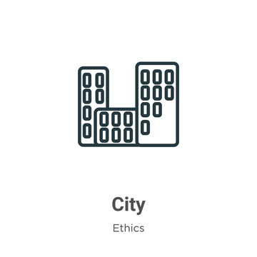 City outline vector icon. Thin line black city icon, flat vector simple element illustration from editable ethics concept isolated on white background