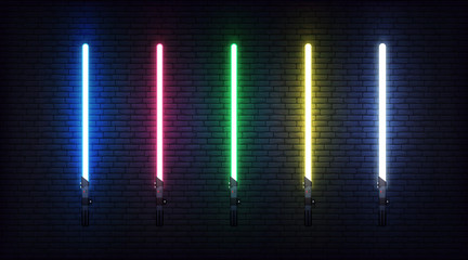 Light saber set. Futuristic realistic laser weapon