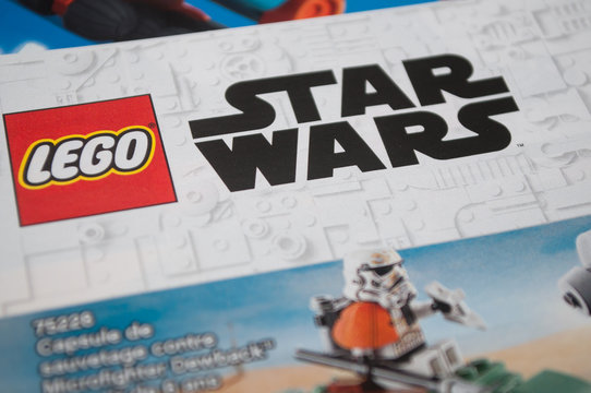 Mulhouse - France - 9 December 2019 - Closeup of Star wars lego in Lego toys catalog