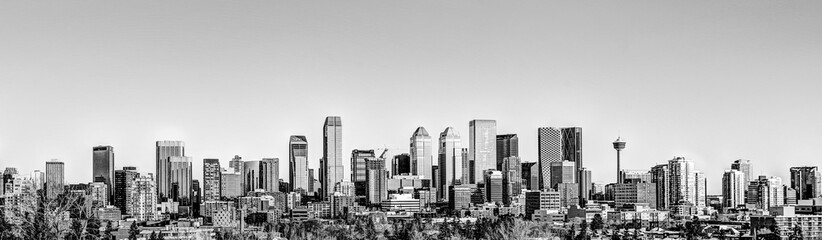 The Calgary skyline in black and white Fotomurales