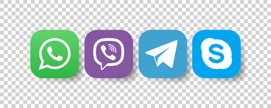 Whatsapp, viber, telegram, skype - Collection of popular contact social icons. Editorial vector. Vinnitsa, Ukraine - December 9, 2019
