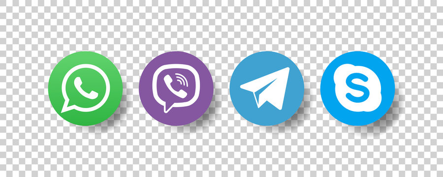 Whatsapp, viber, telegram, skype - Collection of popular contact social icons. Editorial vector. Vinnitsa, Ukraine - December 9, 2019