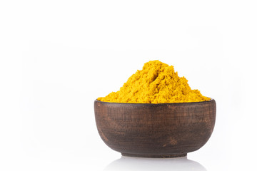 Curry powder in a bowl - White background