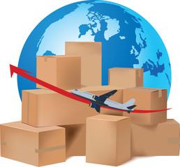 scatole imballaggio volo internazionale trasporto aereo