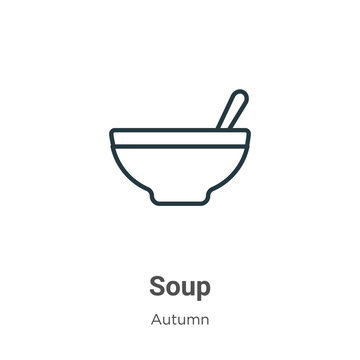 Soup outline vector icon. Thin line black soup icon, flat vector simple element illustration from editable autumn concept isolated on white background