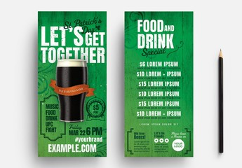 St. Patrick's Day Flyer Layout with Stout Beer Illustration