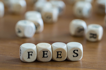 Fees written with wooden cubes