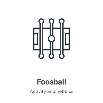 Foosball outline vector icon. Thin line black foosball icon, flat vector simple element illustration from editable outdoor activities concept isolated on white background