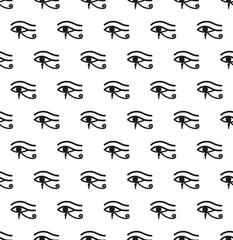 Egyptian eye seamless pattern. Modern repeating texture, endless backdrop. Vector illustration