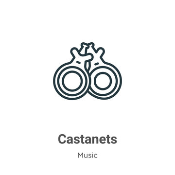 Castanets outline vector icon. Thin line black castanets icon, flat vector simple element illustration from editable music concept isolated on white background