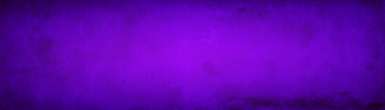 Purple background texture paper or banner design in deep purple color with watercolor paint stains and black vintage border grunge