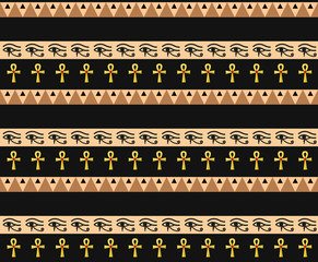 Egyptian seamless pattern. Tribal repeating texture, endless backdrop backdrop. Vector illustration