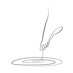 Foto auf AluDibond One Line Art Abstract, minimalistic, line art foot on water figure. Hand drawn, one line, printable, wall art illustration.