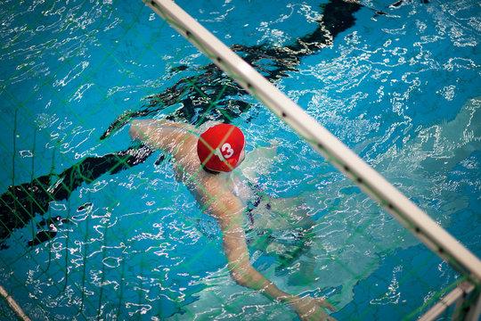 Water polo goalkeeper in water