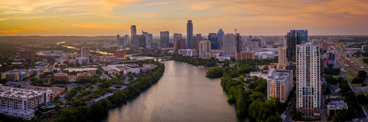 Austin Skyline Panoramic photo with Colorado River winding by downtown