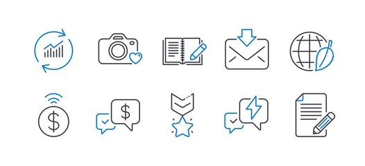Set of Education icons, such as Environment day, Contactless payment, Winner medal, Update data, Incoming mail, Photo camera, Feedback, Payment received, Lightning bolt, Article. Vector