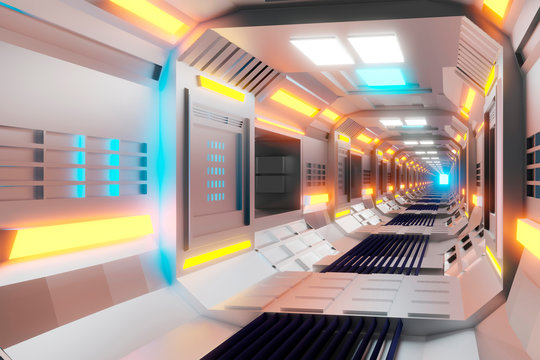 3D Rendered Illustration, visualisation of a science fiction spaceship, gangway