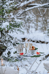 Romantic dinner in the winter forest
